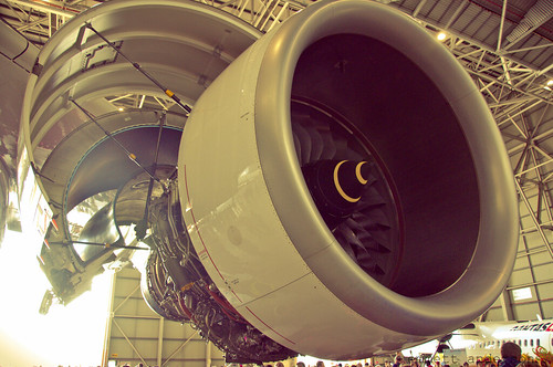 Qantas A380 engine picture by Flickr User emmettanderson
