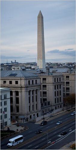 The Washington Monument stands 555 feet high