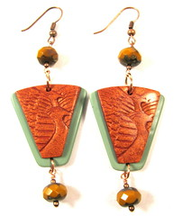 Copper Phoenix and Jadeite Green Earrings (2)