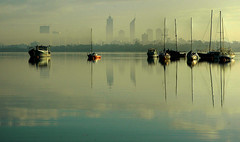 Perth Morning (DarrynSantich) Tags: morning reflection water digital river still nikon d70 perth hdr yatch bestofaustralia