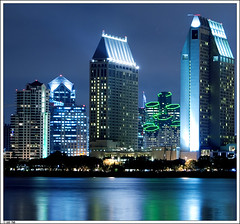 San Diego Skyline (padu_merloti) Tags: california blue light sky ferry skyline architecture night silver buildings landscapes pier reflex nightshot sandiego nightphoto coronado metalic sandiegoskyline padu sonya100 merloti padumerloti