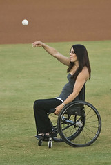 Ceremonial first pitch (mark6mauno) Tags: beach field golden nikon long baseball wheelchair longbeach blair d200 nikkor league 2007 gbl 70200mmf28gvr goldenbaseballleague nikond200 blairfield