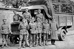 After restoration work (Andrew Kelsall Photography) Tags: old uk blackandwhite bw photoshop truck army war military grandfather scan adobe repair scanned restored soldiers restoration british granddad pse photoshopelements repaired