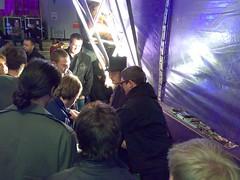 Jerry Sadowitz signing autographs outside the Udderbelly at the Edinburgh Festival Fringe