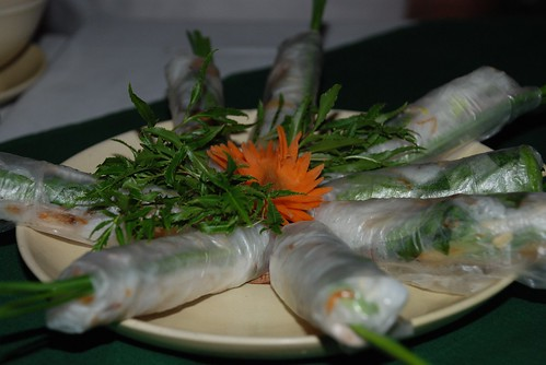 Fresh spring rolls with pork and prawns