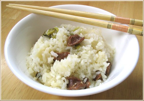 Cai Fan - Chinese Vegetable rice with Chinese Sausage