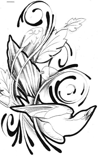 swirls tattoo. Magpie Tattoo Sketch