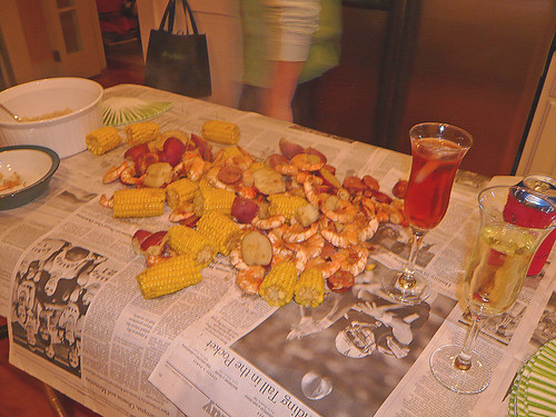 Frogmore Stew in my kitchen.