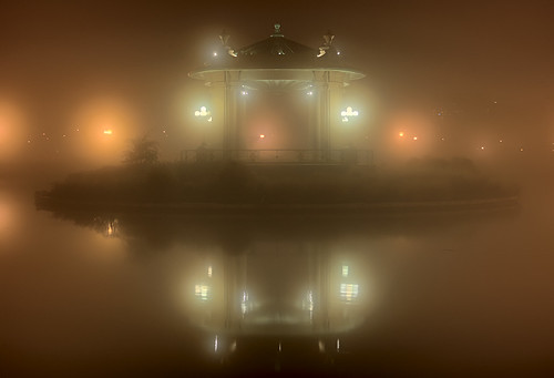 Forest Park, in Saint Louis, Missouri, USA - bandstand on Pagoda Lake, in fog at night 2