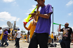 Three vuvuzelas: The new sound of sports? (KPCC: Southern California Public Radio) Tags: signs sports losangeles championship downtown parade fans caravan lakers officers vuvuzela