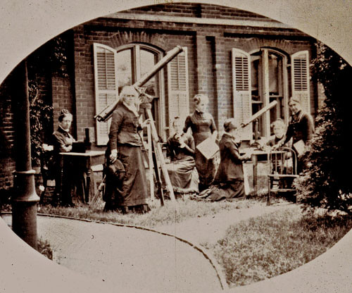 Maria Mitchell with class outside of observatory. Pictured: Harriet Stanton Blatch, Ella McCaleb. May, 1878.