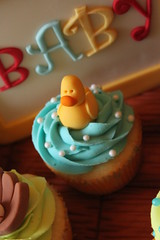 rubber duckie topper (Andrea's SweetCakes) Tags: wood boy cake cupcakes bottle buttons lion ducky rockinghorse babyshower safetypin baseballglove buildingblock