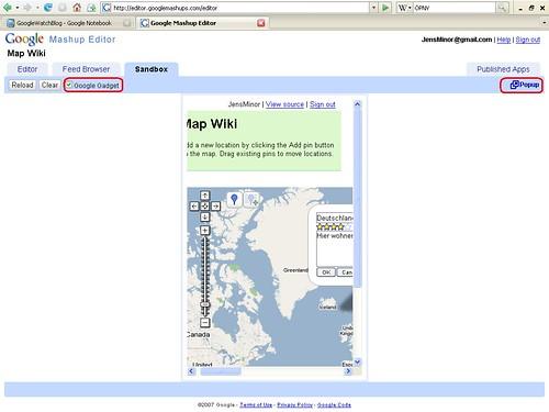 Mashup Editor Beispiel Map Wiki Gadget