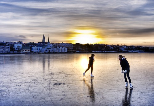 Morning Skaters in Iceland -- hdr light sunrise iceland morning skaters intense ice framing edge skating panorama