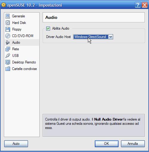 VirtualBox - abilitazione scheda audio