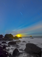 Primordial Calm (ec808x) Tags: longexposure nightphotography moon mist seascape d50 stars nikon rocks wideangle tamron1118mm