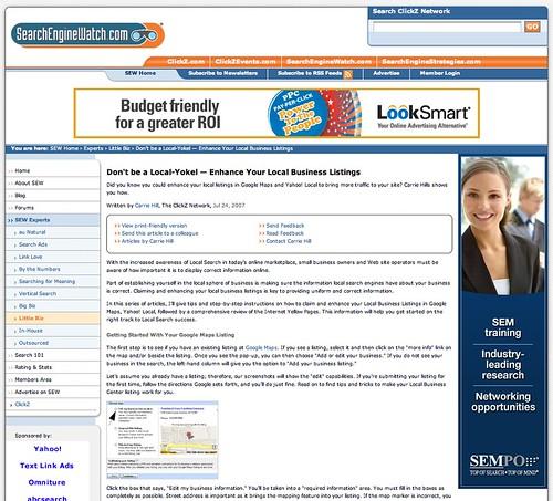 Search Engine Watch New Design 7-23-07