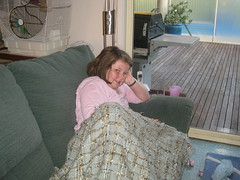 Amy sick on couch