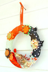fabric rag wreaths RagHearth (12) (heatherknitz) Tags: wreath walldecor wallhanging feltflowers buttonflowers buttonwreath ragwreath fabricwreath decorativewreath doorwreaths fabricragwreath raghearth 10inchwreath