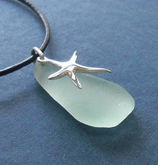 Seaglass Jewelry - seafoam star (Ecstasea) Tags: blue sea black beach nature glass leather silver cord star necklace aqua surf natural handmade earth inspired jewelry jewellery friendly handcrafted sterling etsy recycle simple eco authentic seaglass seafoam genuine drilled upcycle ecstasea