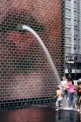 Gargoyle (Vidiot) Tags: park chicago wet water fountain illinois millennium il gargoyle crown millenniumpark crownfountain plensa jaume jaumeplensa