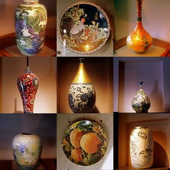 collage11 - Pottery bottles, vases & plates, Yingee Ceramics Museum, Taipei County, Taiwan - by Sunshine Junior