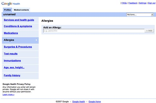 Google Health Screenshot