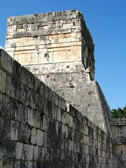 Temple and wall (Jason-Morrison) Tags: trip vacation mexico temple ruins honeymoon yucatan chichenitza relief mayan chichnitz ballcourt templeofthejaguar