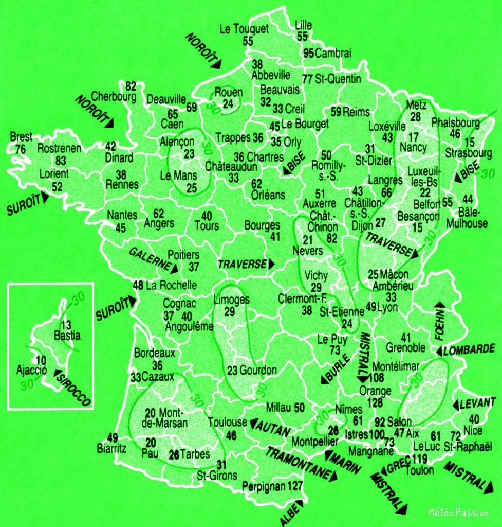 carte du nombre de jours avec vent violent (+ de 65 km/h) par an en France (moyenne de 1961 à 1991)