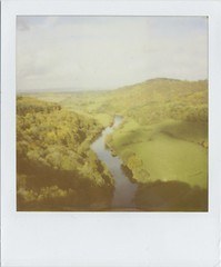 Symonds Yat Rock Pola (Lizzie Staley) Tags: autumn trees fall film river landscape polaroid sx70 hills 600 expired 2010 wye roidweek symondsyattrock