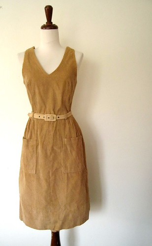 Tan Corduroy Jumper Dress, 1970's