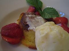 Warm upside-down apple cake, creme fraiche ice cream, Ontario strawberries