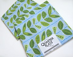 .: Leafy FQ's :. (Warm 'n Fuzzy) Tags: blue green leaves textile fabric cotton supplies joanns