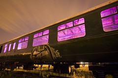 painting inside a train (night photographer) Tags: old light england night clouds train painting photography star moving long exposure purple angle wide trails trail depot disused 24mm gels
