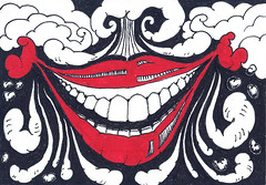 Smile hehehe (CARTEL GRAPHICS) Tags: red white art smile illustration tooth arte drawing draw tosco ilustrao desenho dente ilustracion blak