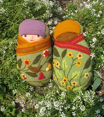 2 babies in the garden (Mimi K) Tags: baby wool doll embroidery etsy recycle applique swaddle