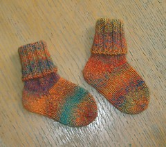 Baby Socks, Orange/Teal