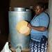 Maize grain stored in metal silo, Kenya