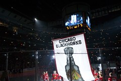 Chicago Blackhawks Stanley Cup Banner Ceremony (Nicole Yeary) Tags: chicago hockey nhl illinois nikon banner detroit ceremony madison blackhawks stanleycup unitedcenter 2010 hawks redwings 2011 chicagoblackhawks thestanleycup