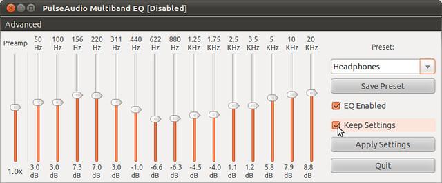 Figura 5 - PulseAudio Equalizer, applicazione permanente dell'equalizzazione prescelta;