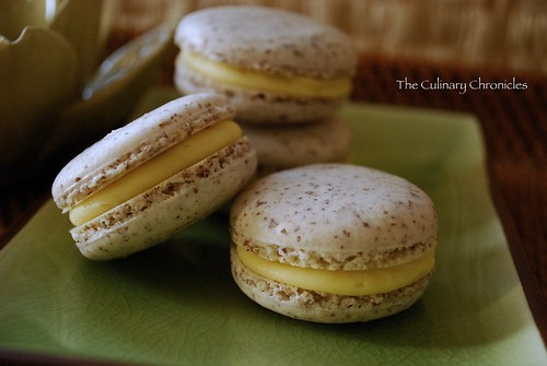 Coconut Macarons with White Chocolate-Mango Ganache
