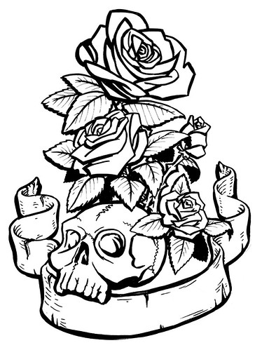 Roses And Skulls Tattoo Designs Skulls And Roses Coloring Pages