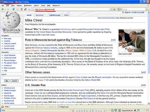 Mike Ciresi Wikipedia Entry Masked By mikeciresi.org