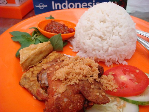 My first meal in Indonesia...Ayam penyet (fried chicken with veggies etc.)