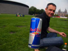 Flying RedBull (jaccodotorg) Tags: city people holland netherlands amsterdam museum flying paintings floating tourist canals prostitution redlightdistrict redbull flyingobjects floatingobjects flyingstuff
