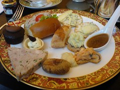 A sampling of afternoon tea delights (irrational_cat) Tags: food cheese fig chocolate delicious caramel afternoontea platter meatloaf bluecheese mousse morsel hightea
