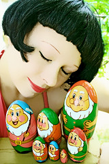 Snow White & the 7 Dwarfs (boopsie.daisy) Tags: selfportrait color me colors fairytale colorful 7 seven wig missy redlips snowwhite eyesclosed blackhair dwarves nestingdolls russiandolls closedeyes dwarfs playingdressup impressedbeauty superhearts underaspell