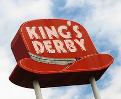 kings derby (pbo31) Tags: life voyage above trip travel red summer vacation sky usa holiday color hat sign america words colorado neon different unique letters roadtrip crosscountry odd american characters neonsign traveling script left 2007 idahosprings kingsderby
