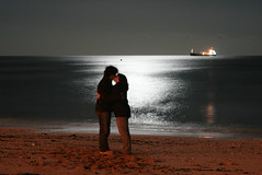 Embrace (Vickykc) Tags: sea sky love beach water night canon happy lights kiss kissing couple cornwall ship colours horizon together moonlight embrace falmouth 400d abigfave ultimateshot gillingvase vickykclostinthought vickykcphotobacklog