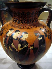 Neck-amphora (vase) depicting the Judgement of Paris (ggnyc) Tags: nyc newyorkcity newyork paris museum ceramic greek ancient gallery manhattan terracotta goddess pantheon competition vessel amphora jar attic vase pottery aphrodite met athena judgement mythology goddesses greekmythology athene metropolitanmuseumofart ancientgreece antiquity archaic hera bribery olympian ancientgreek greekart blackfigure greekpottery  judgementofparis blackfigurepottery greekandromangalleries   twohandled twohandles athn  amphoreus